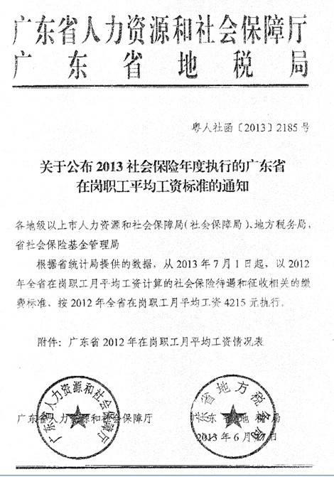 2013年深圳平均工资标准